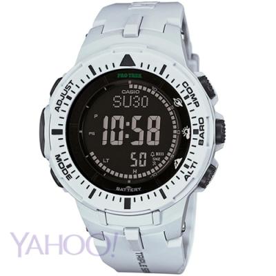 CASIO PROTREK原野馳騁太陽能三大感應器登山錶(PRG-300-7)白/47mm
