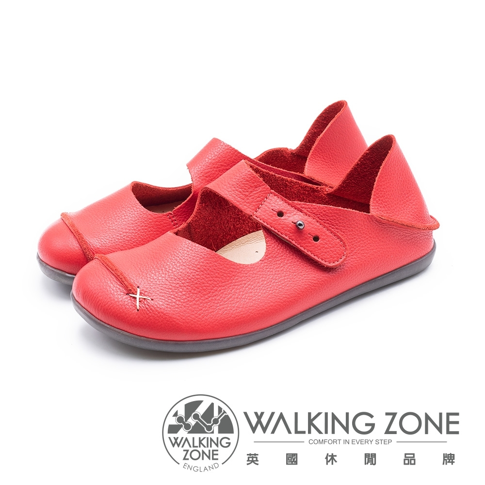 WALKING ZONE 可踩腳 超柔軟牛皮娃娃鞋女鞋-紅(另有藍)