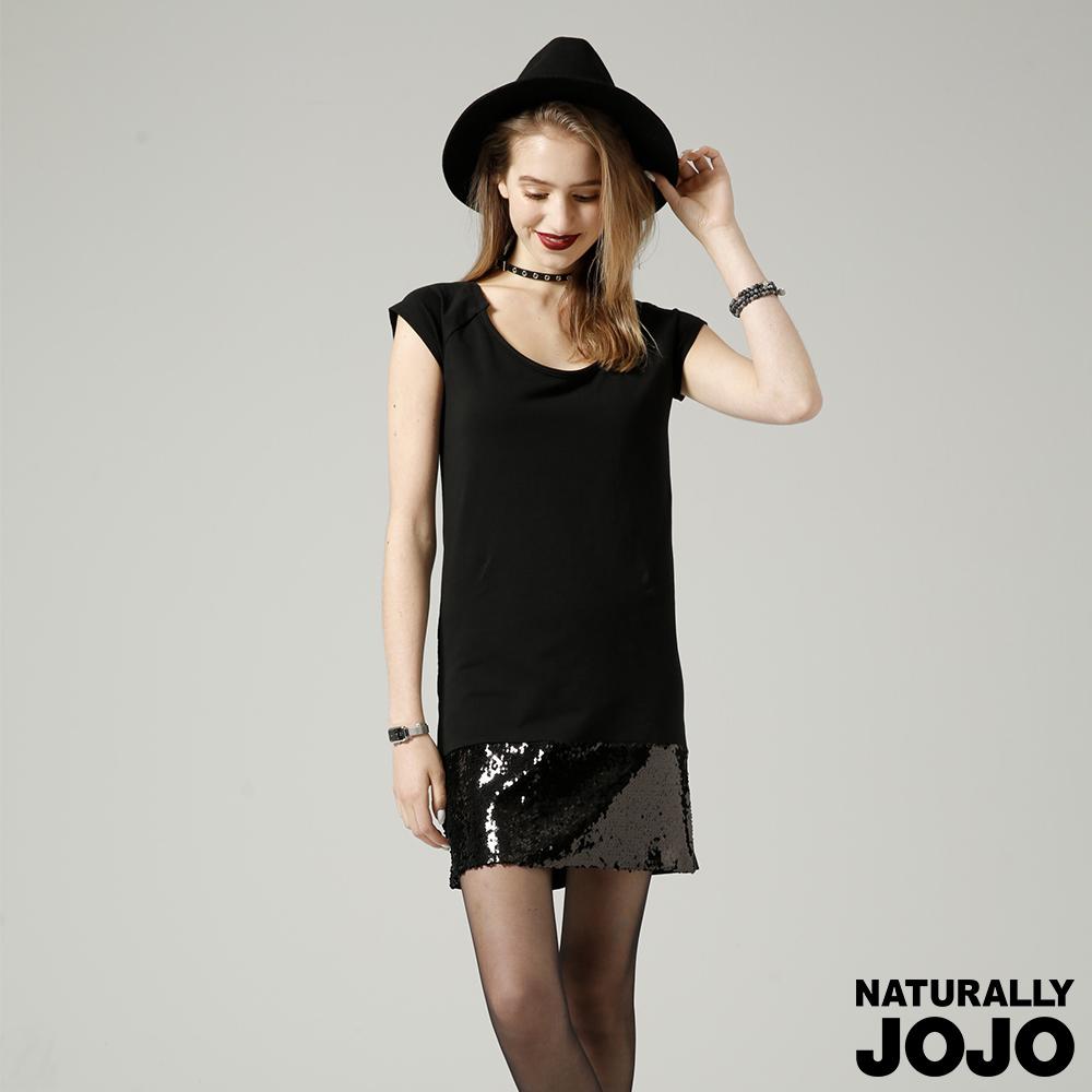 【NATURALLY JOJO】魚鱗亮片時尚洋裝 (黑)