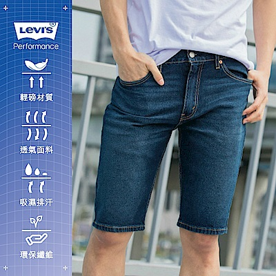 Levis 男款 505寬鬆直筒牛仔短褲 Cool Jeans 深藍刷白