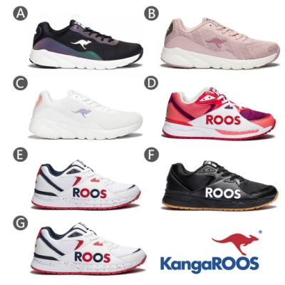 【時時樂限定】KangaROOS 男女 科技幻彩跑鞋/復古跑鞋(7款任選)