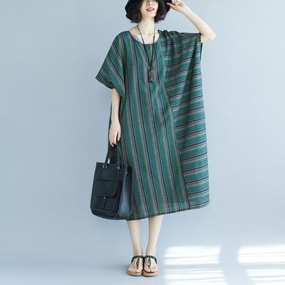 米蘭精品 連身裙短袖洋裝-條紋拼接寬鬆棉麻女裙子73xz48