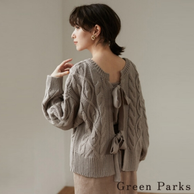 Green Parks 注目後綁帶麻花設計針織上衣