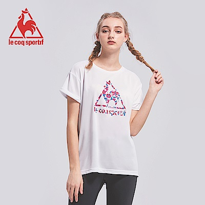 le coq sportif 法國公雞牌馬賽克LOGO吸汗速乾短袖T恤 女-白