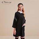 OUWEY歐薇 釘珠寬版太空棉不收邊洋裝(黑)