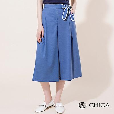 CHICA 知性女子配色側綁帶八分寬褲(3色)