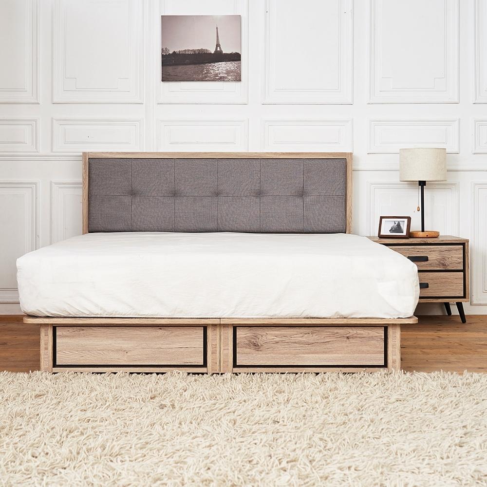 時尚屋 奧爾頓橡木5尺床片型3件組-床片+床底+床頭櫃(不含床墊)