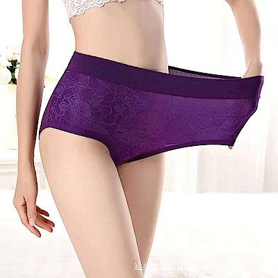 超彈力柔軟緹花中高腰大尺碼內褲/紫 lemonsolo