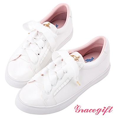 Disney collection by grace gift懷錶飾釦荷葉邊休閒鞋 粉