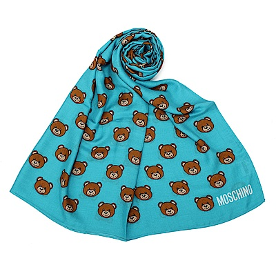 MOSCHINO 經典滿版TOY小熊圖樣100%莫代爾薄圍巾-藍綠色