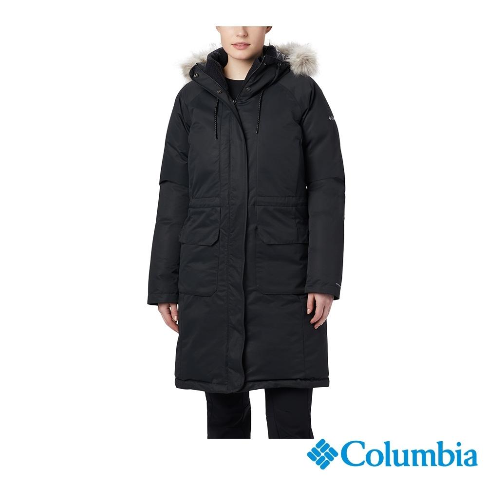 Columbia 哥倫比亞 女款- Omni-TECH 防水鋁點保暖羽絨大衣-黑色 UWR02030BK