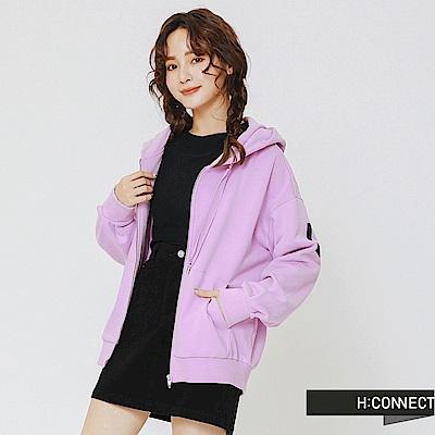 H:CONNECT 韓國品牌 女裝-活力印字連帽外套-紫