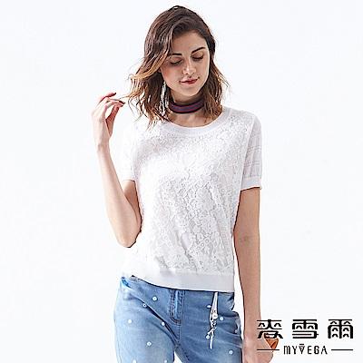 【麥雪爾】蕾絲鏤空牡丹花針織衫