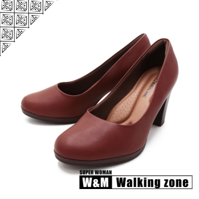WALKING ZONE SUPER WOMAN系列 圓頭素面高跟鞋 女鞋- 咖(另有白.黑.卡其)