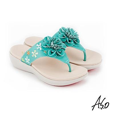 A.S.O 希臘渡假 全真皮俏麗圖騰花朵休閒涼拖鞋 綠