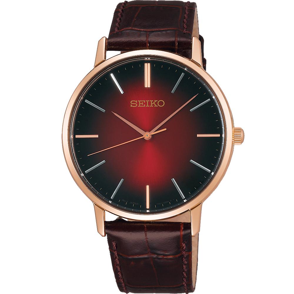 SEIKO 精工 SPIRIT極簡漸層時尚腕錶(SCXP130J)-紅色