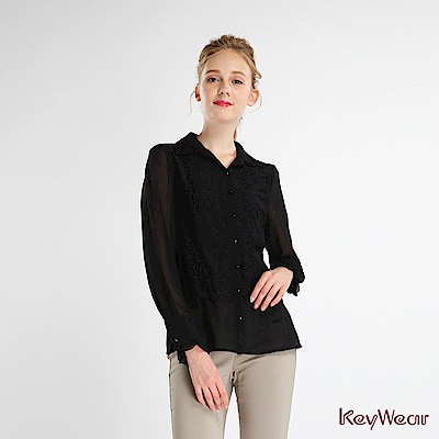 KeyWear奇威名品    甜美復古袖口小荷葉假兩件式上衣-黑色