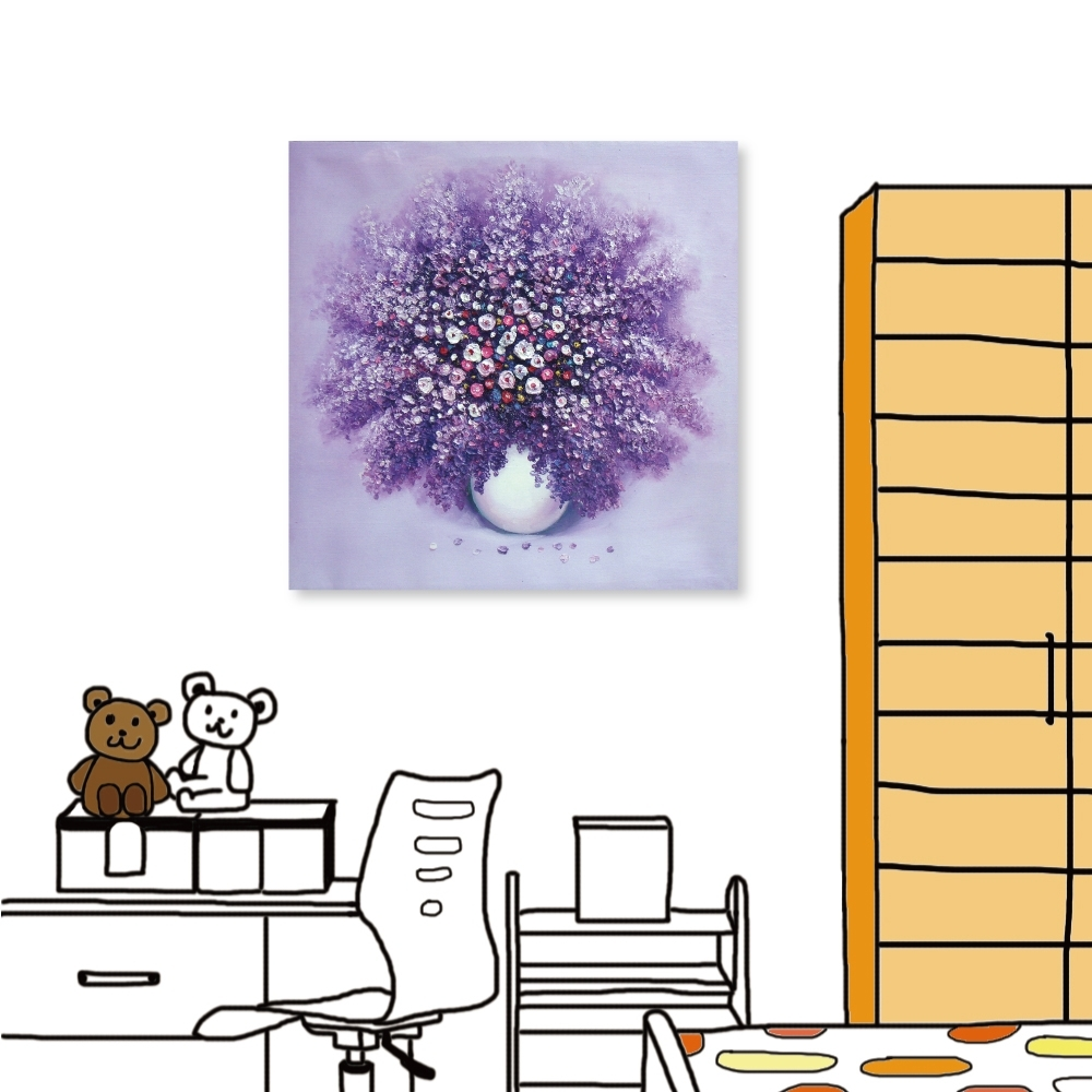 [全新展示品] 24mama掛畫 單聯式無框畫-紫戀花卉 30x30cm