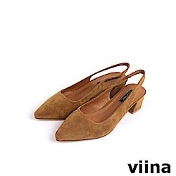 viina Basic尖頭絨布素面後空跟鞋 - 焦糖