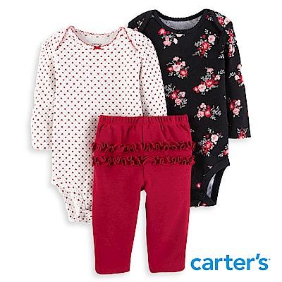 Carter's 碎花荷葉三件組套裝