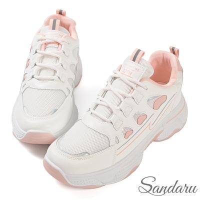 山打努SANDARU-小白鞋 清新配色綁帶厚底休閒鞋-粉