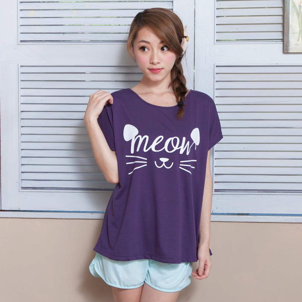 睡衣 彈性棉質短袖兩件式睡衣(C01-100549紫色大臉貓咪) Young Curves