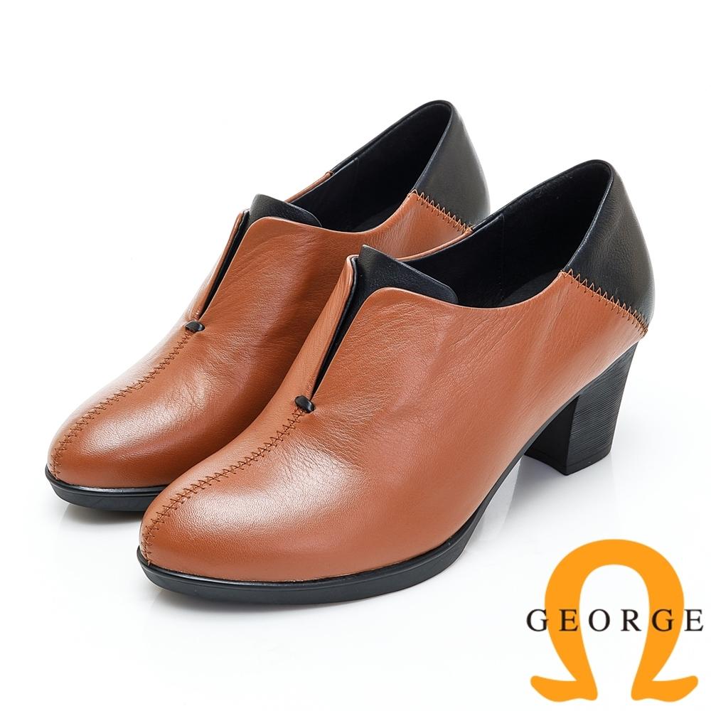 GEORGE 喬治皮鞋 素面兩色拼接低筒踝靴-土黃色