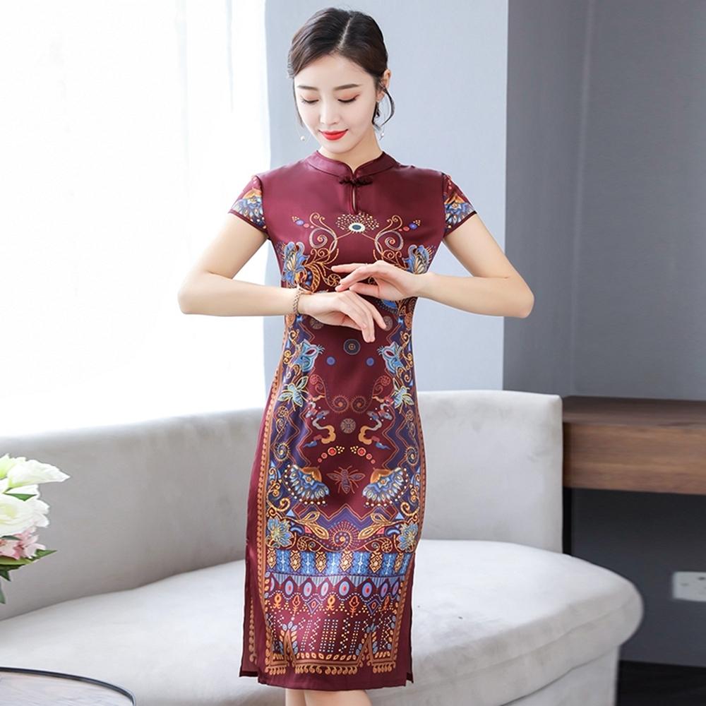 古典復古小立領盤釦印花改良旗袍M-4XL(共三色)REKO
