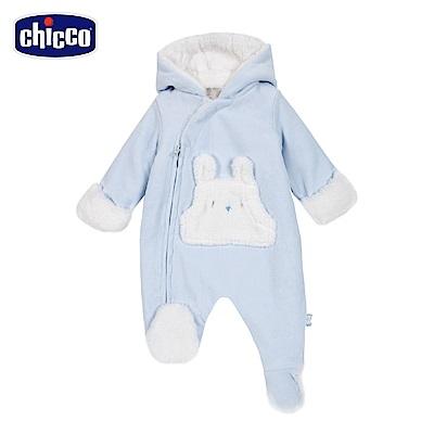 chicco-寶貝熊系列-絨裡連帽側開兔裝-藍(3-12個月)