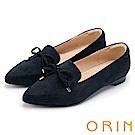 ORIN 舒適樂活 百搭麂皮布面樂福平底鞋-深藍