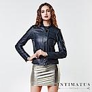 INTIMATUS 真皮 高雅立領拉鍊短版小羊皮皮衣 獨特鐵灰