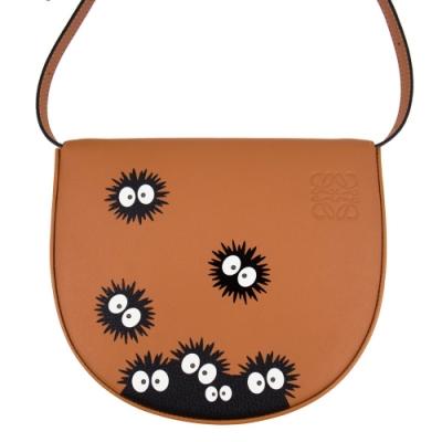 [聯名限量包裝]Loewe 龍貓 牛皮 馬鞍包/肩背包/腰包 豆豆龍 Totoro 聯名款 Heel Bag 煤炭