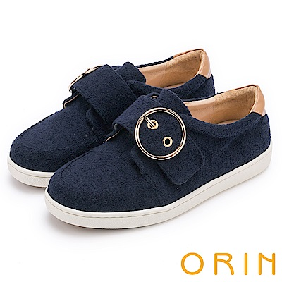 ORIN 潮流同步 金屬圓形釦環平底休閒鞋-藍色