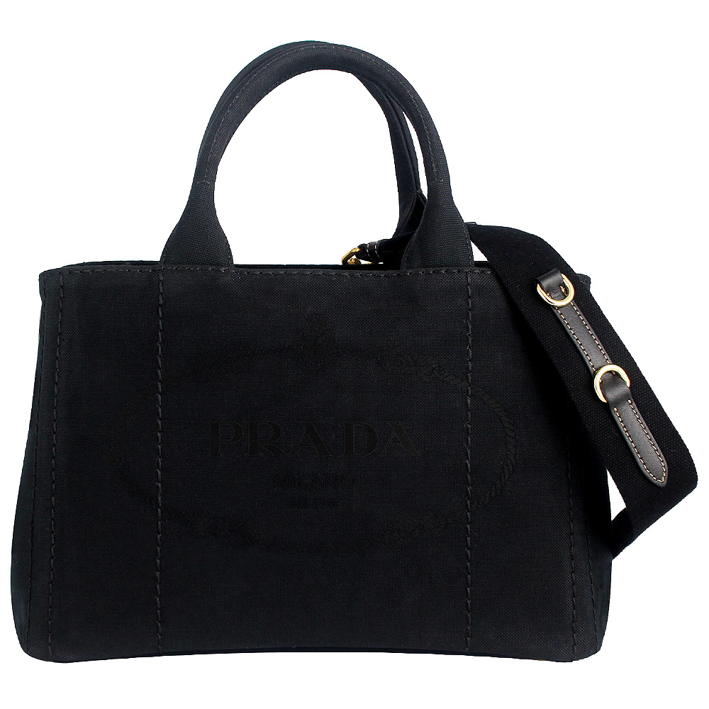 PRADA CANAPA黑色刺繡帆布三角標誌皮飾邊手提/肩背包