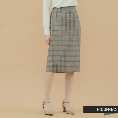 H:CONNECT 韓國品牌 女裝- 直筒格紋中長裙-卡其