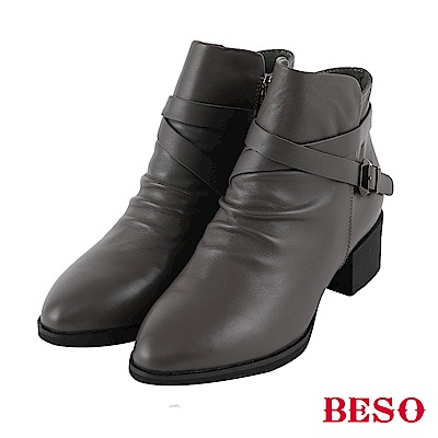 BESO  極致品味 交叉皮帶工程短靴~灰