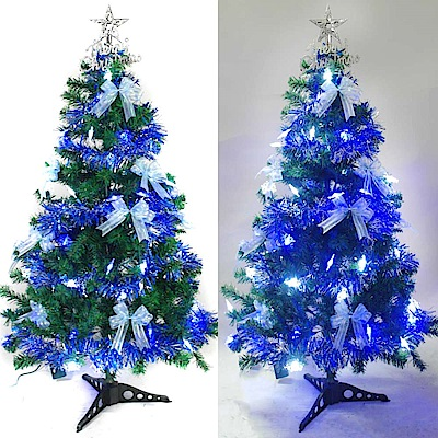 摩達客 90cm一般型裝飾綠聖誕樹 (藍銀色系)+50燈LED燈雪花造型藍白光燈1串