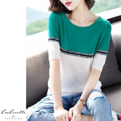 2F韓衣-韓系上下雙色拼接造型針織上衣-2色(F)