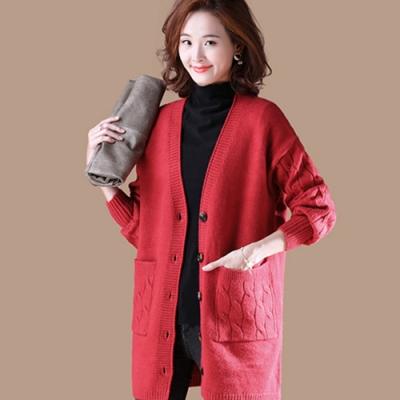 初色  麻花針織開衫外套-紅色-(F可選)