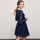 AIR SPACE 緹花蕾絲V領傘擺長袖洋裝(藍)