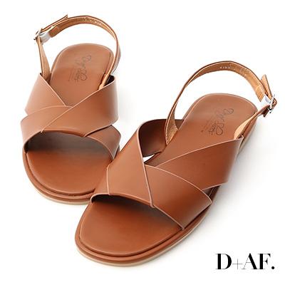 D+AF 簡單俐落.寬版摺疊方頭平底涼鞋*棕
