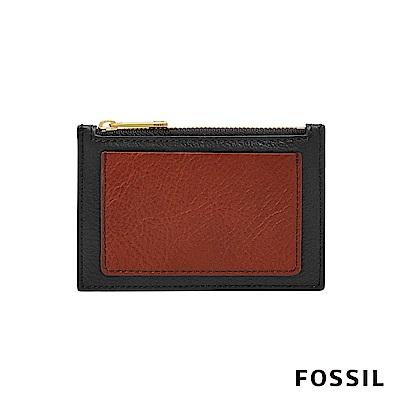 FOSSIL Shelby 真皮系列拉鍊卡片夾-黑色/酒紅色