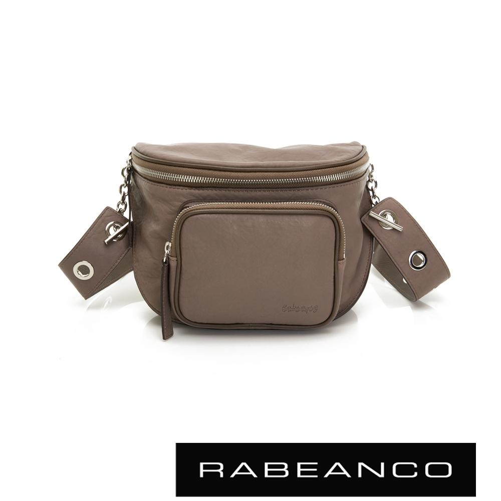 RABEANCO INA牛皮T型鏈條寬背帶斜背/腰包(大) 灰卡其