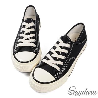 山打努SANDARU-帆布鞋 兩穿後踩配色車線休閒鞋-黑