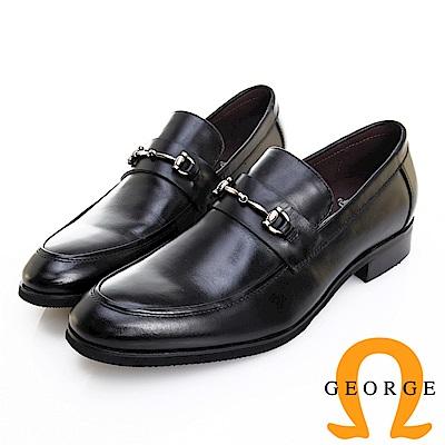 GEORGE 喬治皮鞋 經典系列 漸層刷色馬蹄釦紳士樂福鞋 -黑