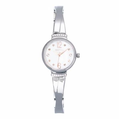 MANGO永恆時刻交叉鍊帶晶鑽腕錶-銀色/26mm