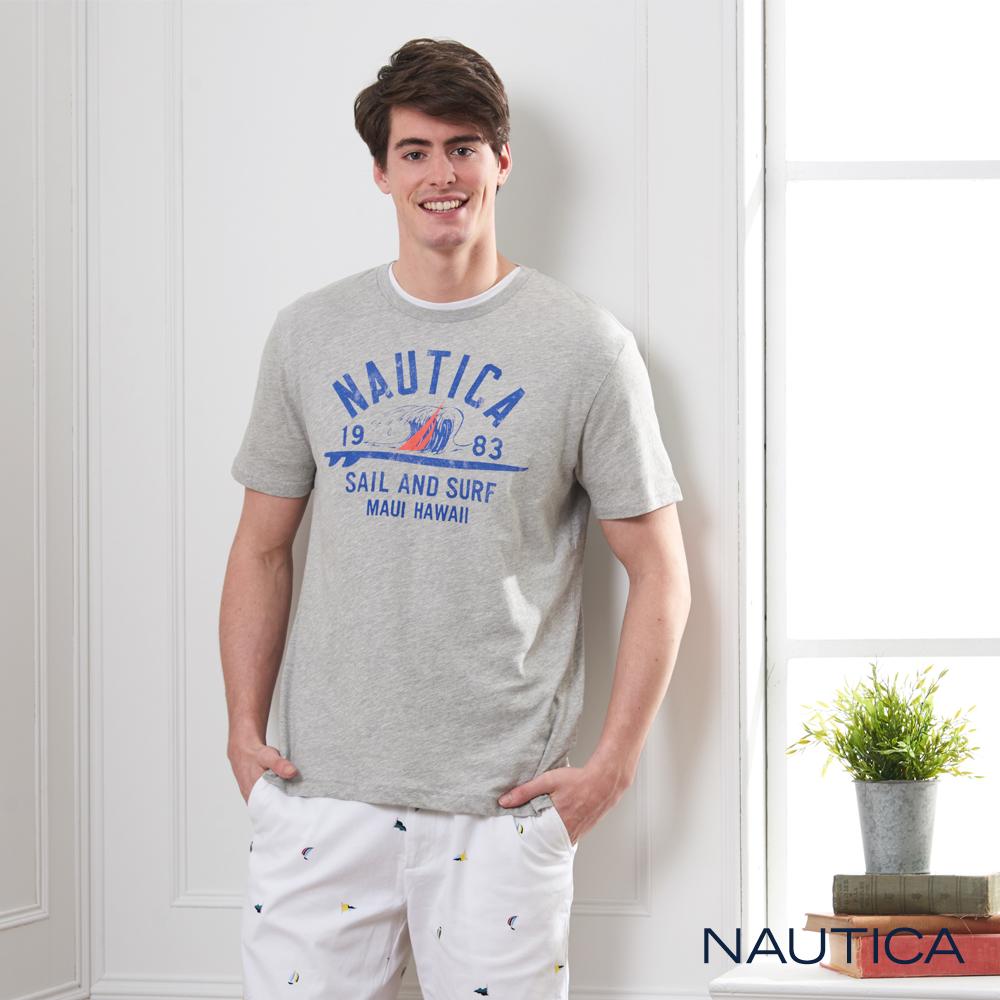 Nautica 夏威夷衝浪圖騰短袖T恤-灰