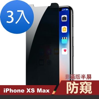 iphone XS Max 防窺 透明 非滿版 半屏 手機貼膜-超值3入組