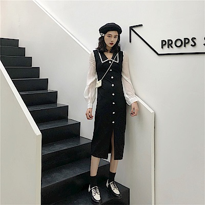 DABI 韓系網紗拼接翻領過膝小香風長袖洋裝