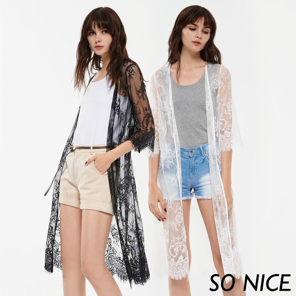 SO NICE夏季浪漫透視蕾絲罩衫